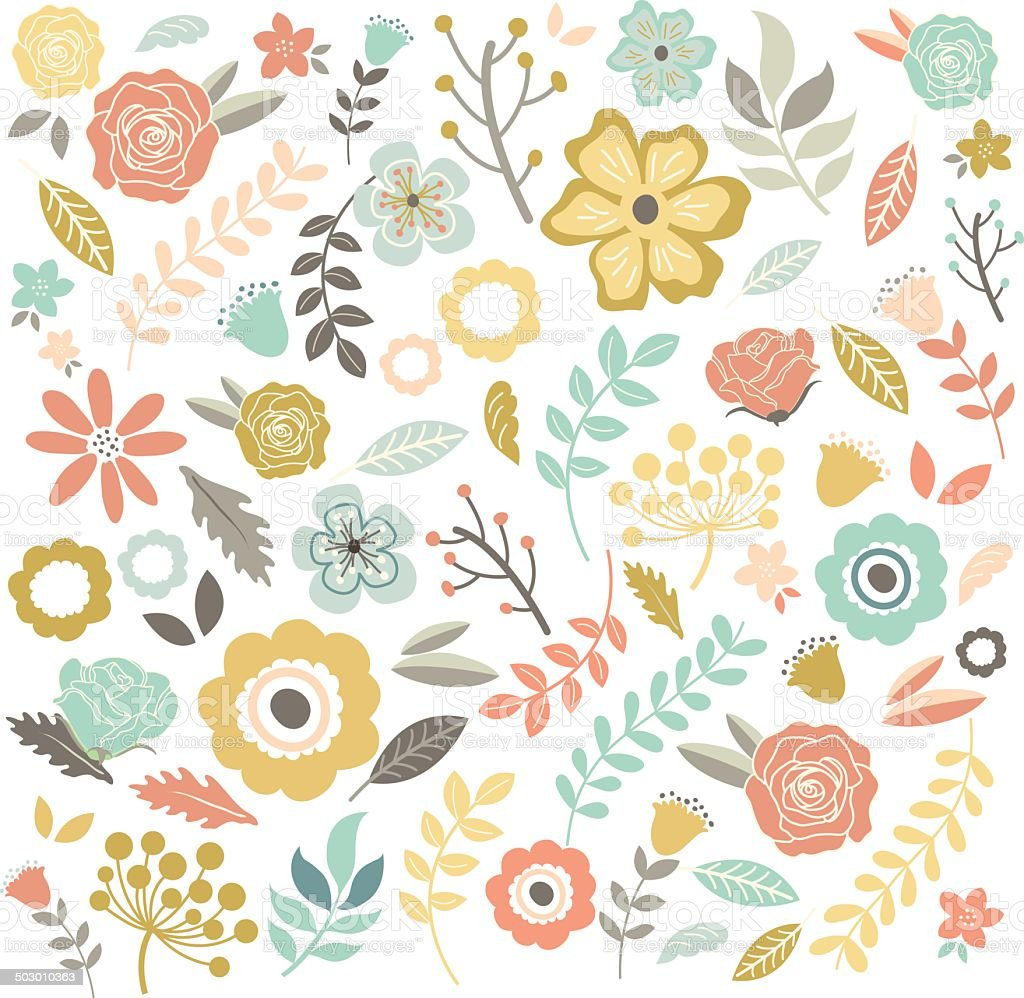 Hand Drawn single Flowers Background - Illustration royalty-free stock vector art