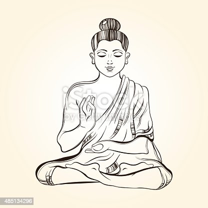 Hand drawn sitting buddha in meditation sketch for ritual tatto stock vector art more images - Dessin de bouddha gratuit ...
