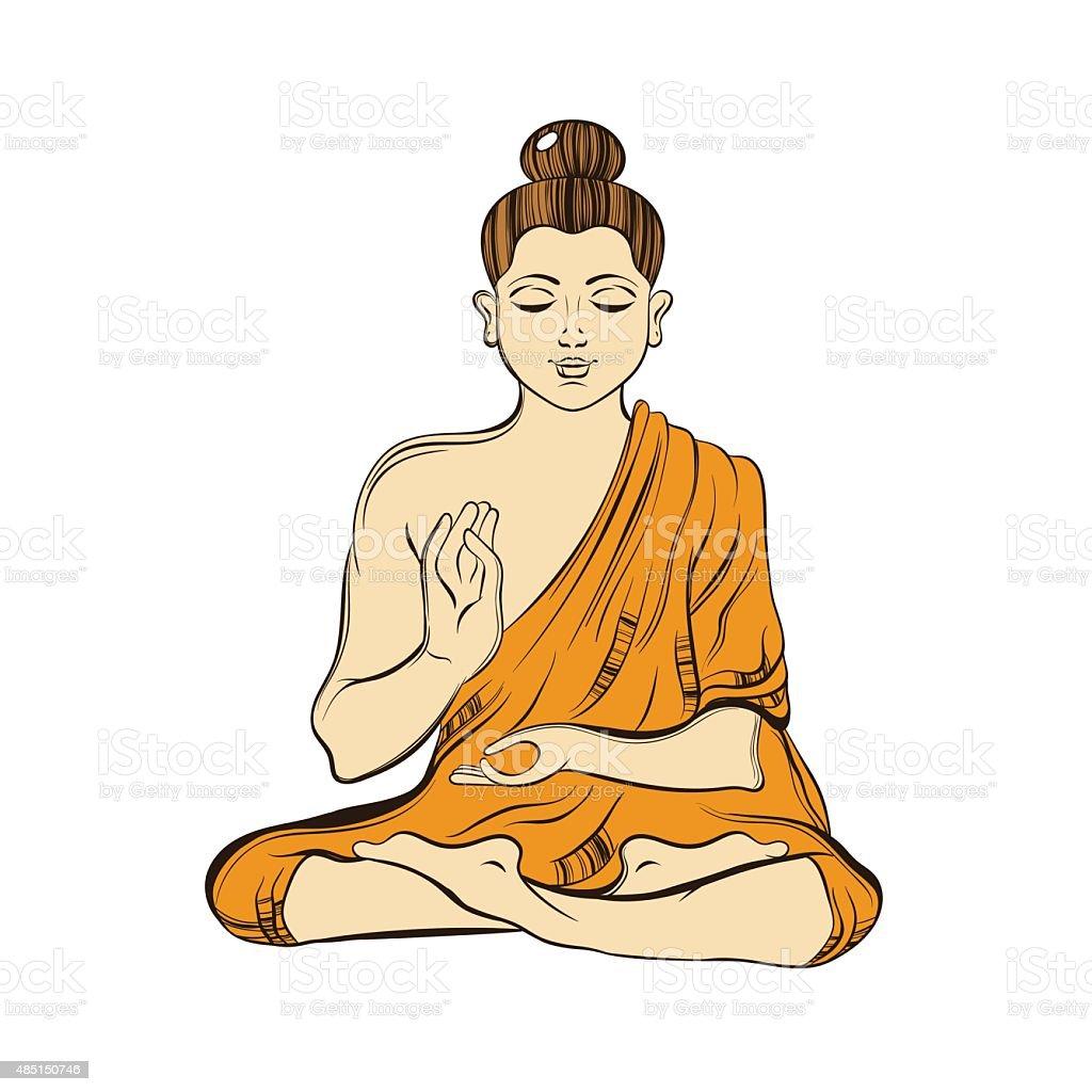 Hand Drawn Sitting Buddha In Meditation Yoga Spirit Sketch For Stock Illustration Download Image Now Istock