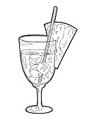 Hand drawn sketch alcoholic cocktail vintage . Vector illustration for coctail menu