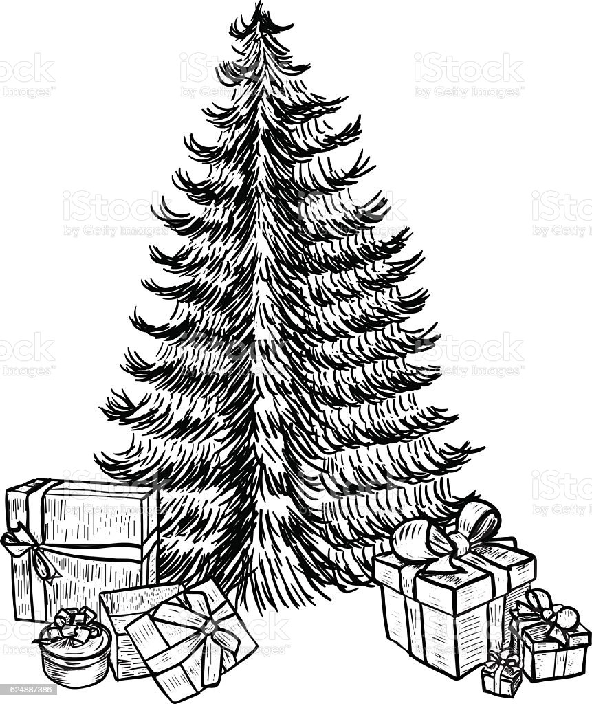 Hand Drawn Sketch Christmas Tree And Gifts Stock Vector Art 624887386 | IStock