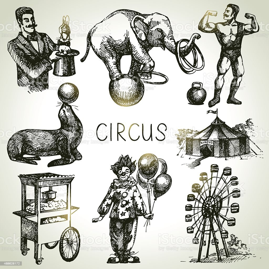 Hand drawn sketch circus and amusement vector illustrations. Vin vector art illustration