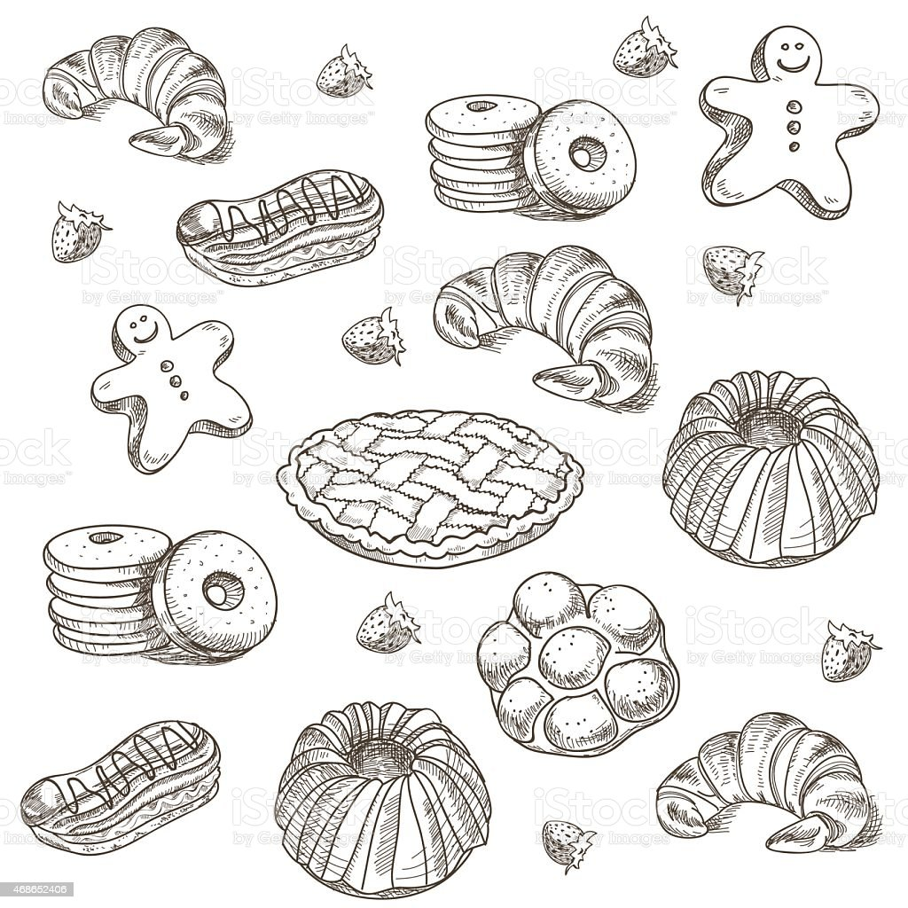 hand drawn sketch confections dessert pastry bakery products donut, pie vector art illustration