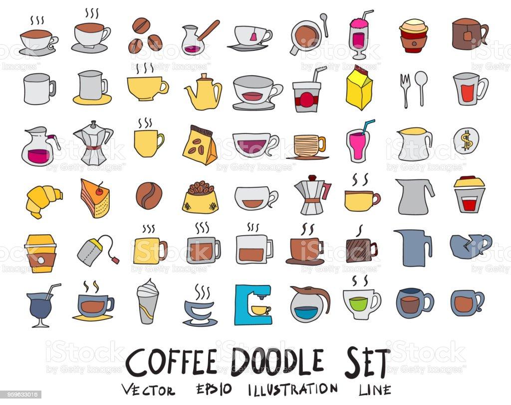Dibujados a mano dibujo doodle vector color iconos colección línea de café icono en blanco fondo eps10 - arte vectorial de Alimento libre de derechos