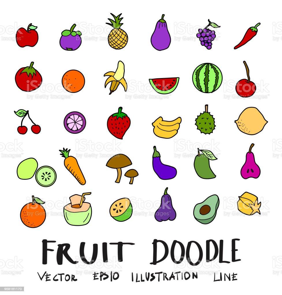 Handgezeichnete Skizze Doodle Vector Linie Frucht Farbe ...