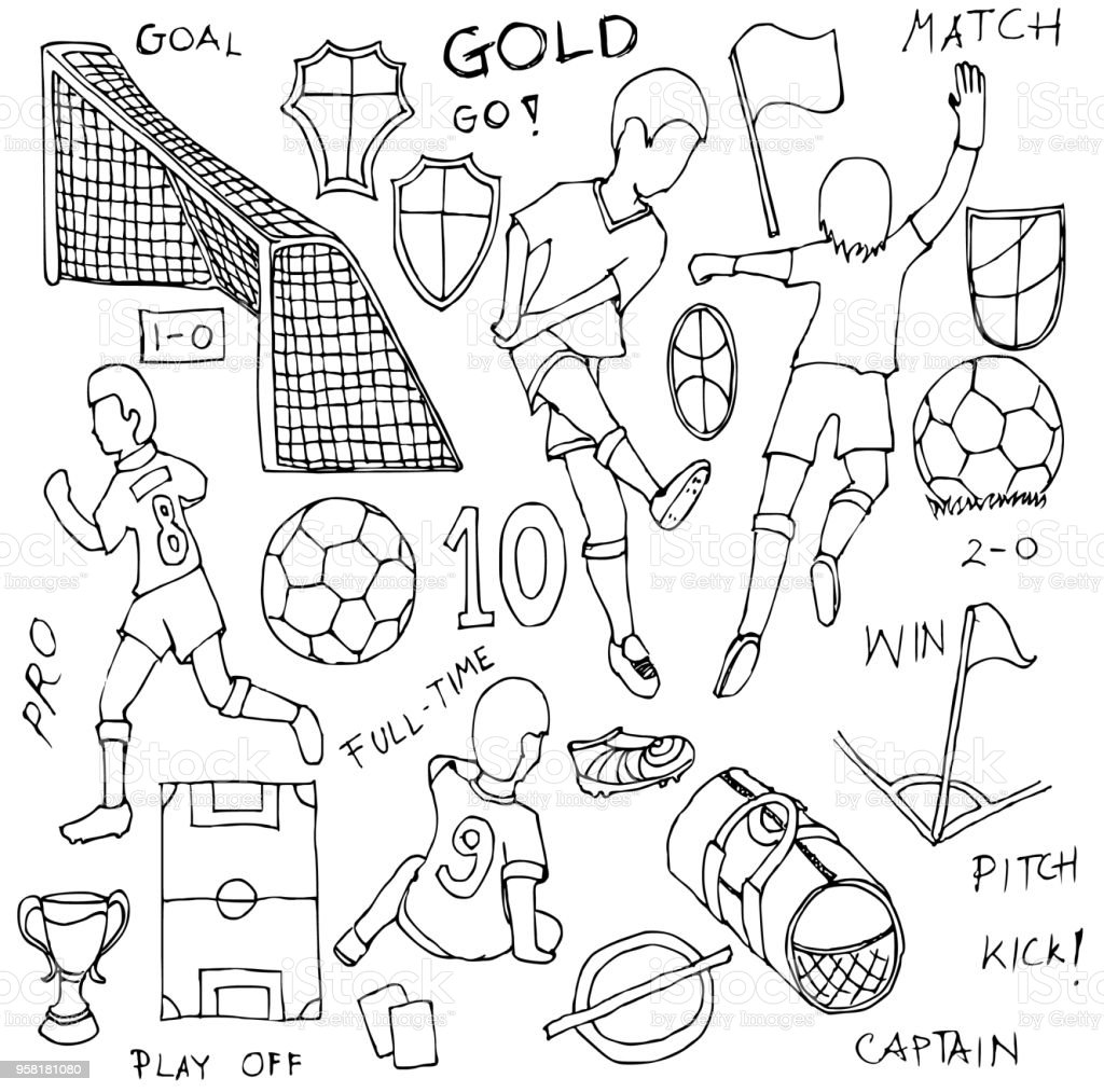 Hand drawn Sketch doodle vector line Soccer element icon set on white