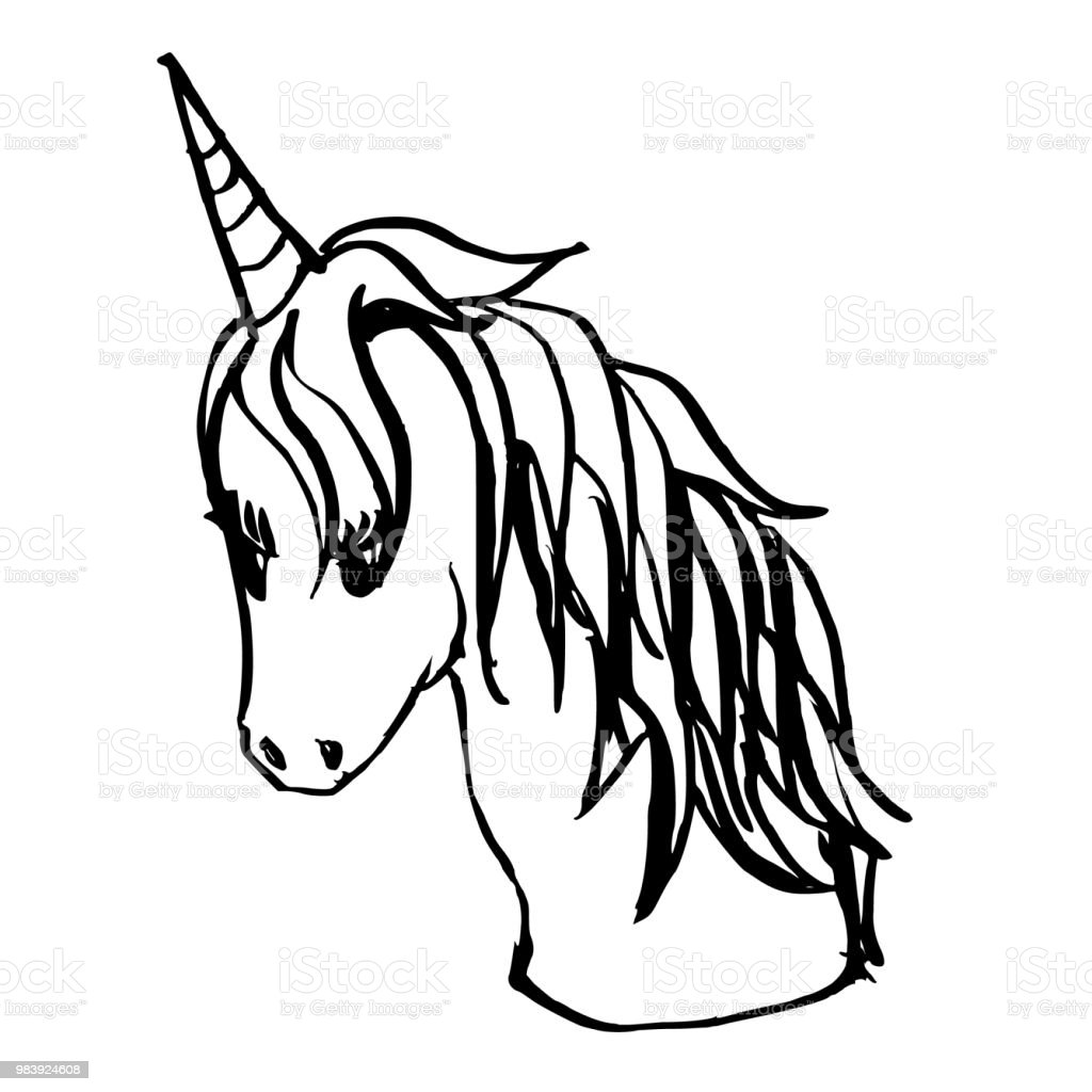 Hand drawn Sketch doodle vector line unicorn eps10 vector art illustration
