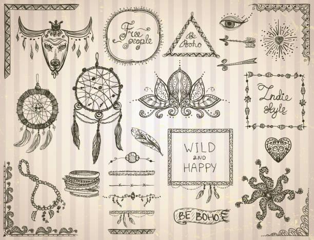 handgezeichnete skizzierelemente gesetzt im boho-stil - zigeunerleben stock-grafiken, -clipart, -cartoons und -symbole