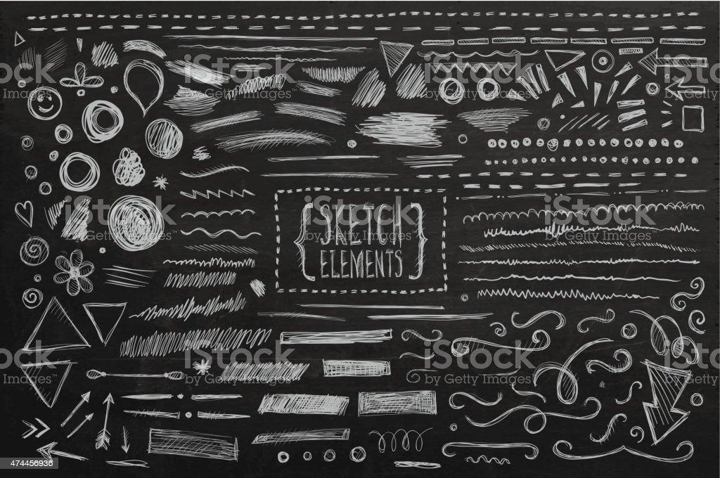 Hand drawn sketch hand drawn elements vector art illustration
