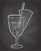 Hand drawn sketch ice alcoholic cocktail with pineapple vintage . Vector illustration for coctail menu in chalkboard background. Vector illustration in sketch style.  Hand drawn design element