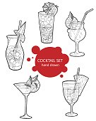 Hand drawn sketch ice alcoholic cocktails set with a slice of lemon and a umbrella and strawberry vintage . Vector for coctail menu on white paper background. Hand drawn design element. Drop of wine