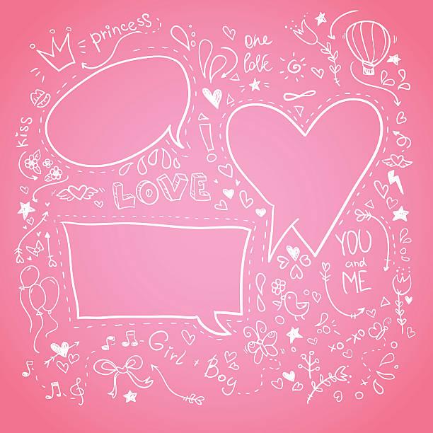 stockillustraties, clipart, cartoons en iconen met hand drawn sketch illustration - speech bubbles. love - bloemen storm
