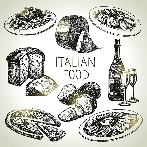 Hand drawn sketch Italian food set.Vector illustration Hand drawn sketch Italian food set.Vector illustration penne stock illustrations