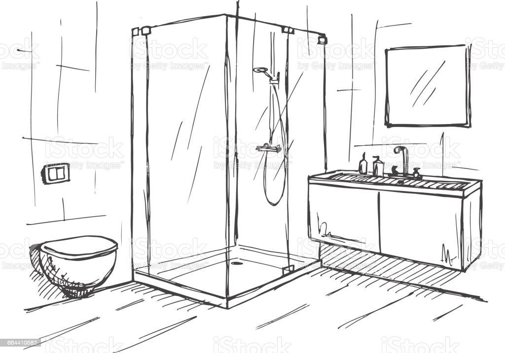 Hand gezeichnete Skizze. Lineare Skizze des Innenraumes. Teil des Badezimmers. Vektor-illustration – Vektorgrafik