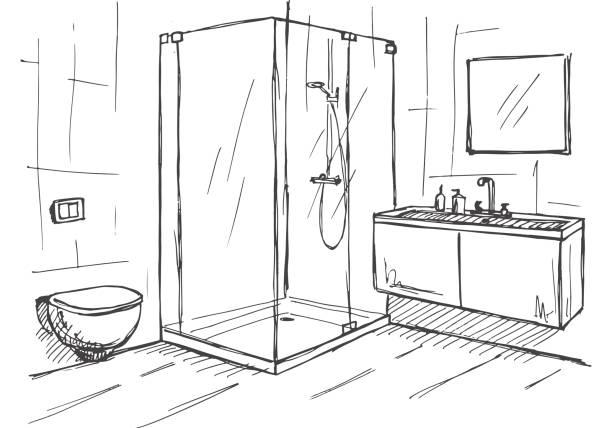 hand gezeichnete skizze. lineare skizze des innenraumes. teil des badezimmers. vektor-illustration - badezimmer stock-grafiken, -clipart, -cartoons und -symbole