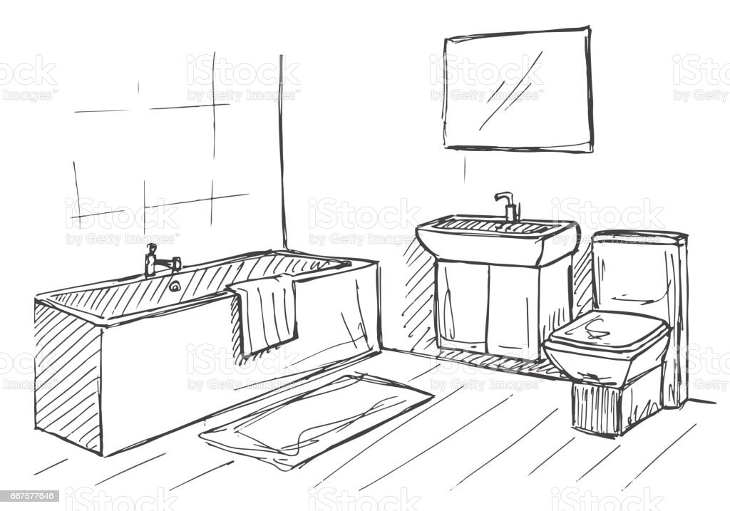 Hand Drawn Sketch Linear Sketch Of An Interior Part Of The Bathroom Vector Illustration Stock