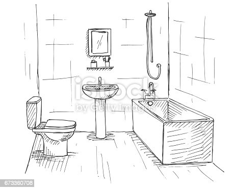 Hand Drawn Sketch Linear Sketch Of An Interior Part Of The