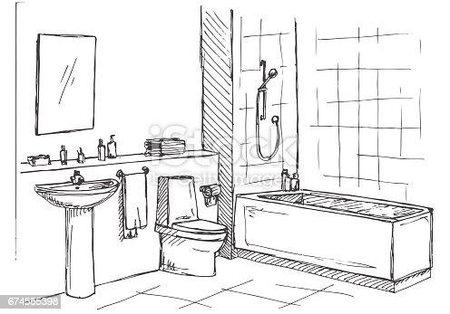 croquis dessin de la main croquis lin aire dun int rieur partie de la salle de bain. Black Bedroom Furniture Sets. Home Design Ideas