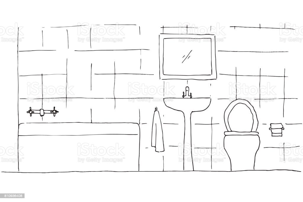 Ilustración de Boceto Dibujado De La Mano Dibujo Lineal De ...