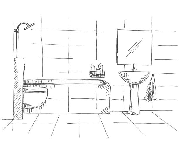 Royalty Free Bathroom Graphic Interior Black White Sketch
