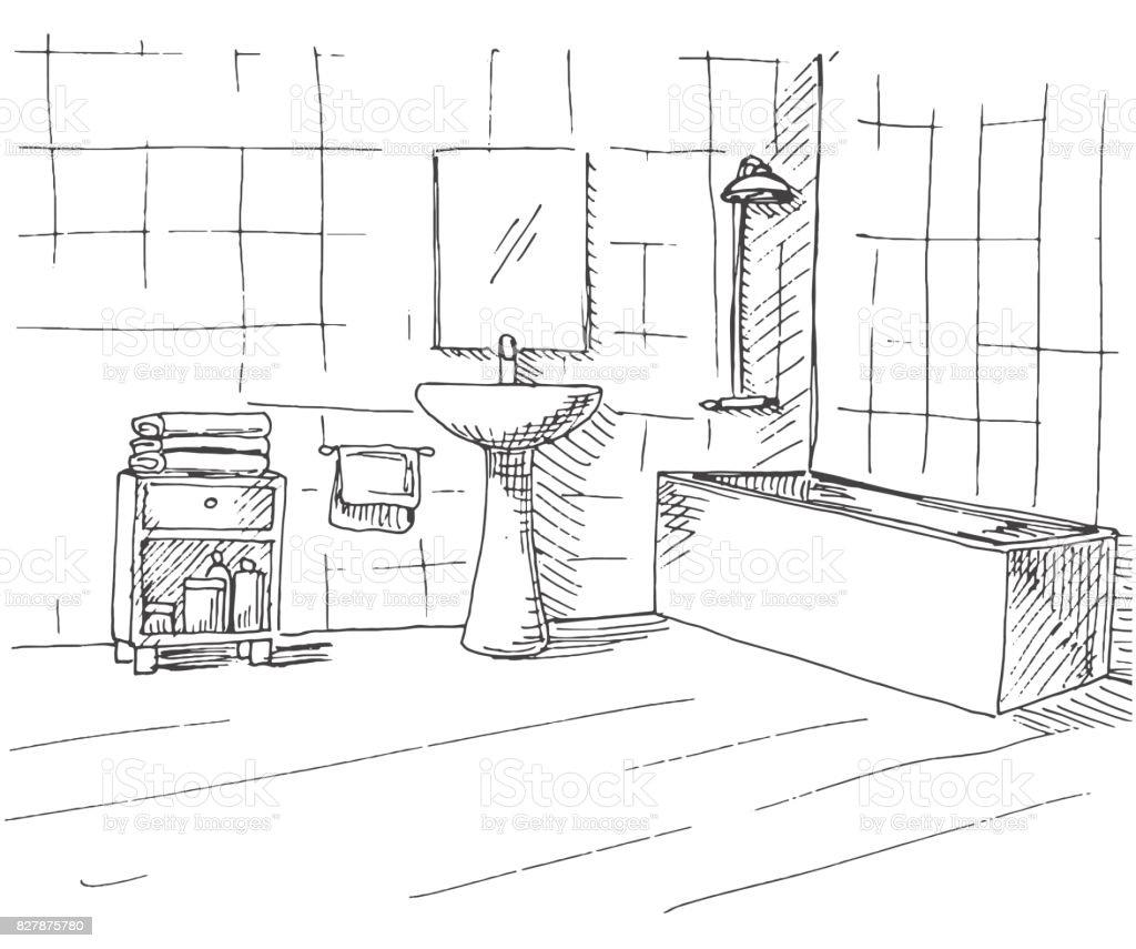 Hand Getrokken Schets Lineaire Schets Van Een Interieur Onderdeel Van De Badkamer Vectorillustratie Stockvectorkunst En Meer Beelden Van Apparatuur Istock