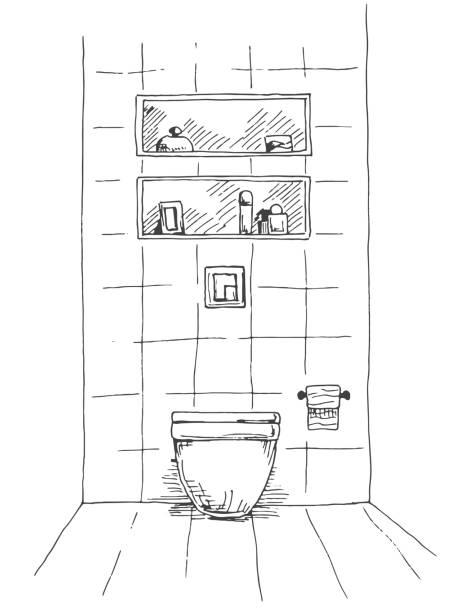 hand gezeichnete skizze. lineare skizze des innenraumes. teil des badezimmers. vektor-illustration - spiegelfliesen stock-grafiken, -clipart, -cartoons und -symbole