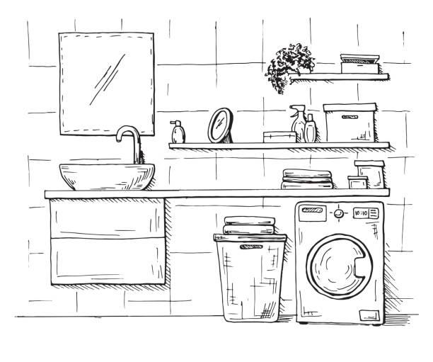 hand gezeichnete skizze. lineare skizze des innenraumes. teil des badezimmers. vektor-illustration. - spiegelfliesen stock-grafiken, -clipart, -cartoons und -symbole