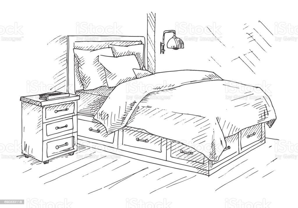 Hand Gezeichnete Skizze Lineare Skizze Des Innenraumes Skizzieren Sie Linie Schlafzimmer Vektorillustration Stock Vektor Art Und Mehr Bilder Von Arbeiten Istock