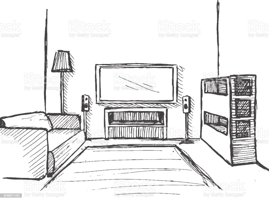 Hand Drawn Sketch Linear Of The Interior Bookcase Dresser With TV And