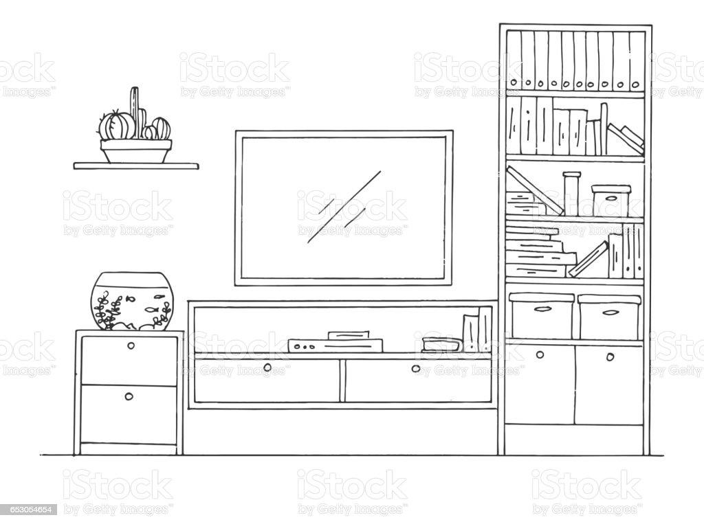 Ilustracion De Boceto Dibujado De La Mano Dibujo Lineal Del Interior
