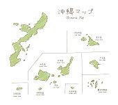 手描きのスケッチ地図沖縄諸島