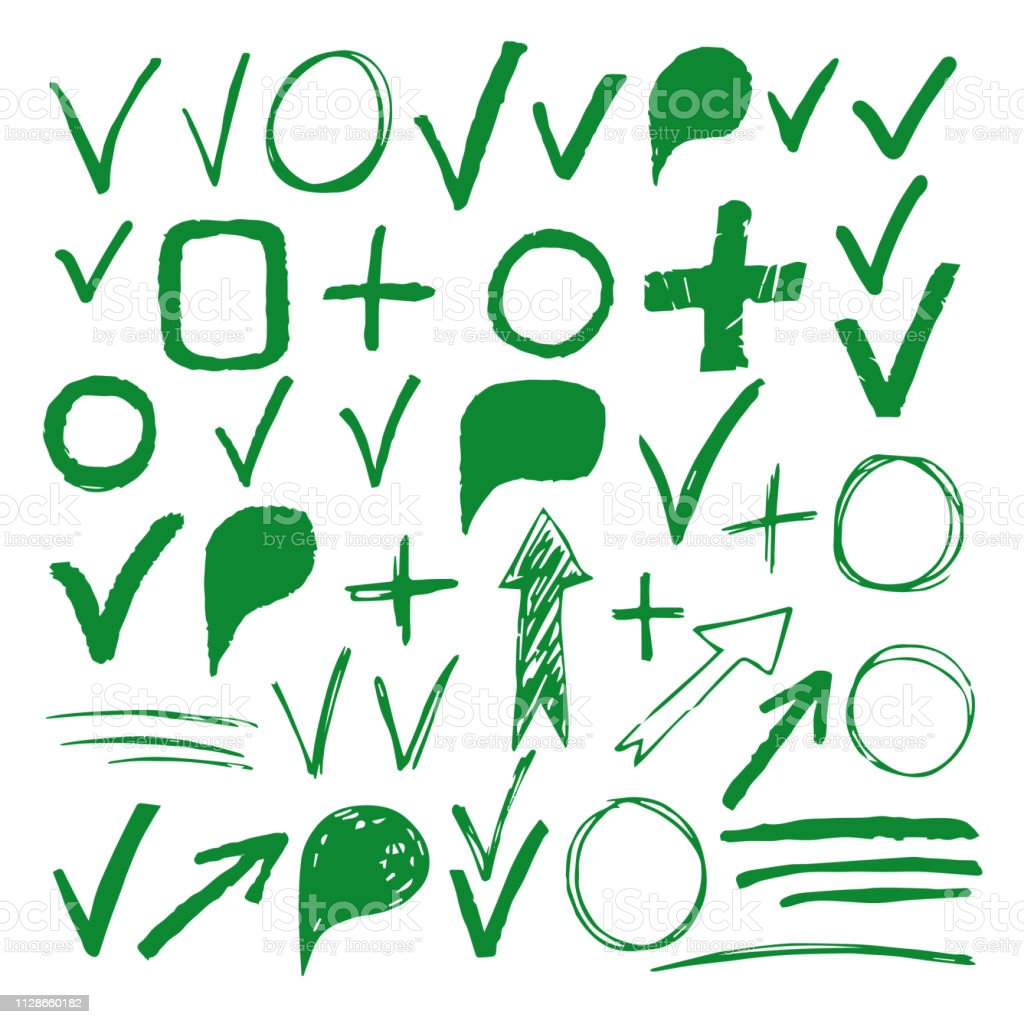 Hand drawn sketch green marker, brushed signs, arrows, lines, shapes,...