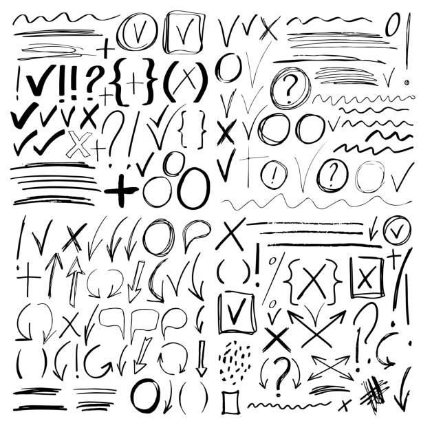ręcznie rysowany znacznik szkicu, znaki szczotkowane, strzałki - bazgroły rysunek stock illustrations