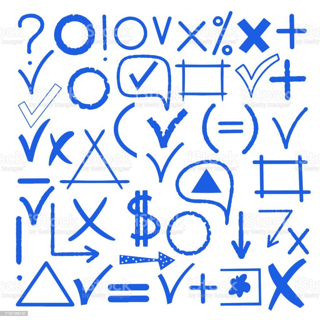 Hand drawn blue sketch marker icon, symbol, signs, arrows, check...