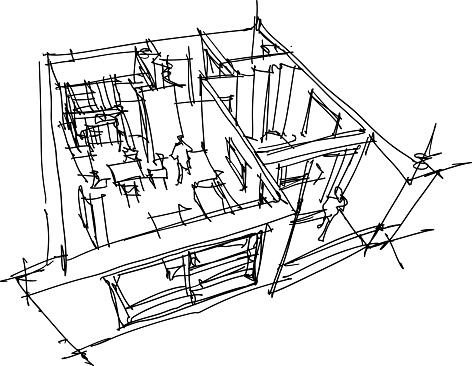 hand drawn sketch of apartment