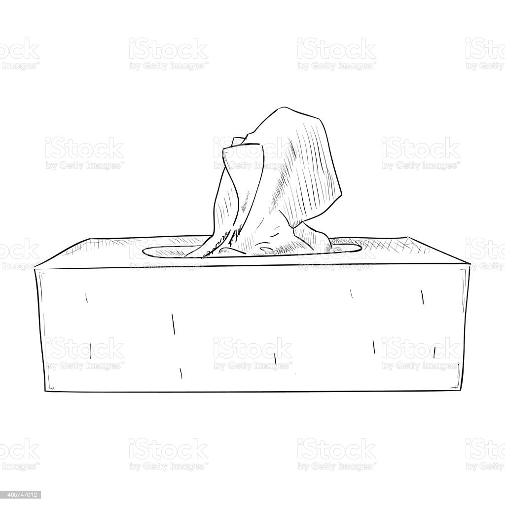 Hand drawn sketch of box with wipes vector art illustration
