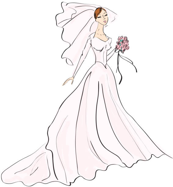 Hand drawn sketch of Bride with bouquet, veil and train vector art illustration