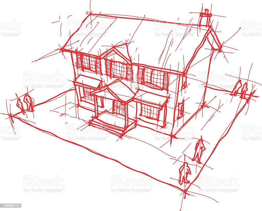 hand drawn sketch of classic colonial house vector art illustration