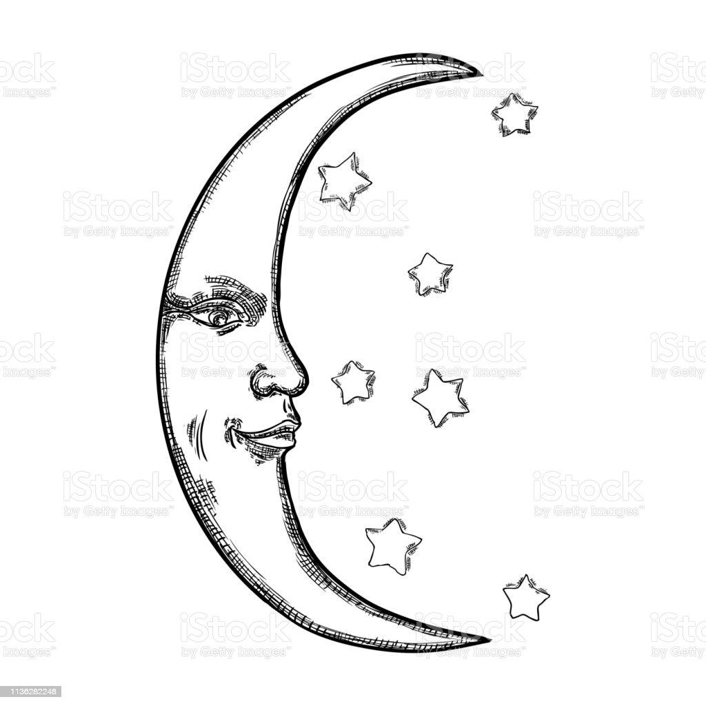 Croquis Dessine A La Main De Croissant De Lune Homme Comme Le