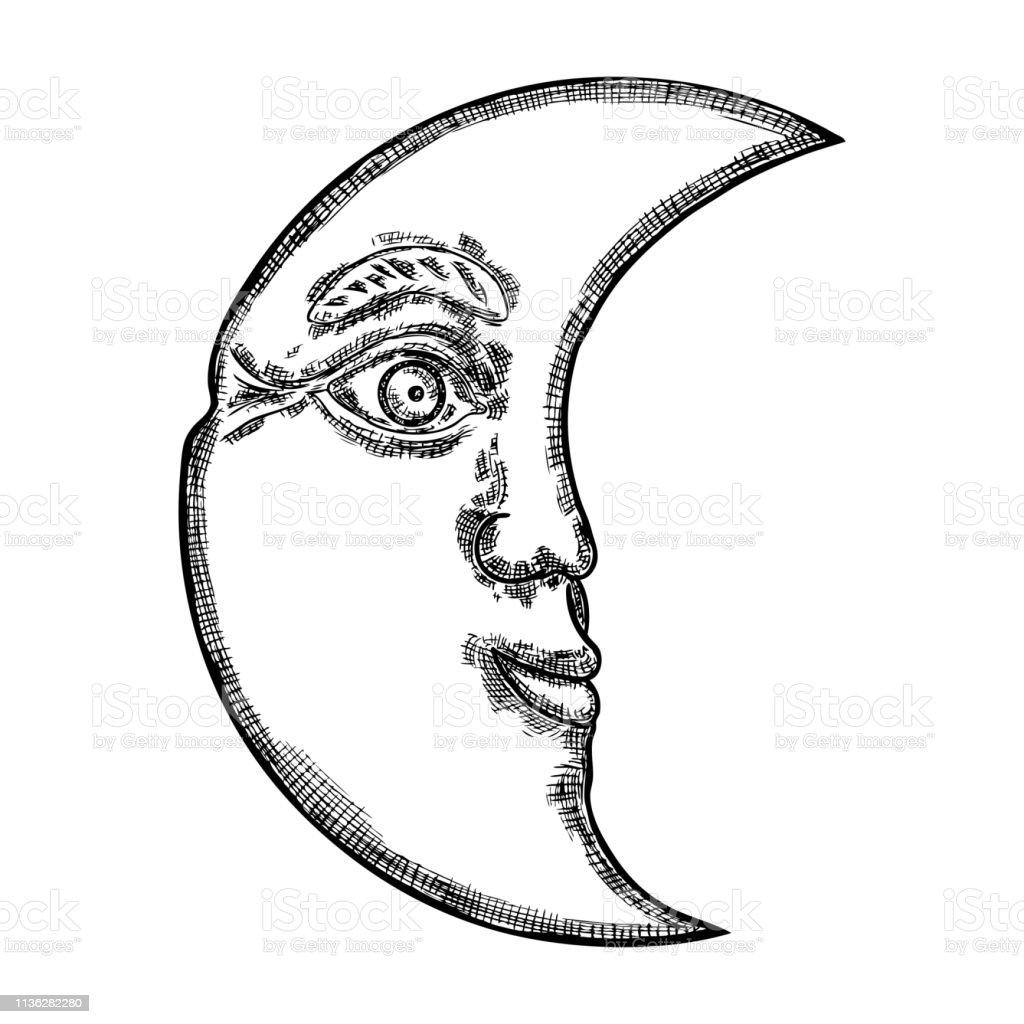 Croquis Dessiné à La Main De Croissant De Lune Homme Comme