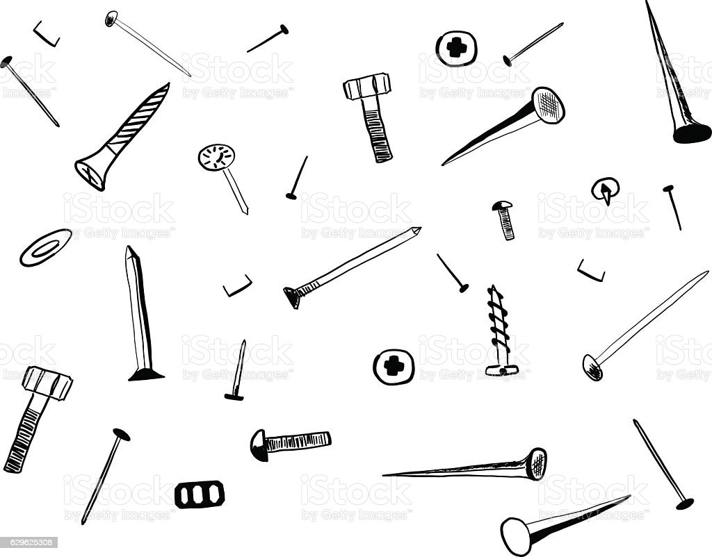hand drawn sketch of hardware screws and nails stock vector art  u0026 more images of arranging