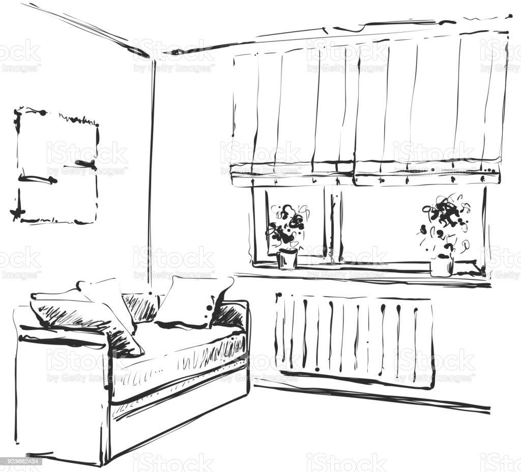 Hand Gezeichnete Skizze Des Modernen Wohnzimmer Interieur Mit Einer Couch Und Vielen Kissen Designer Lampe