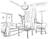 Hand drawn sketch of modern living room interior with a sofa, pillows, table, bookshelf, lamps and pictures.