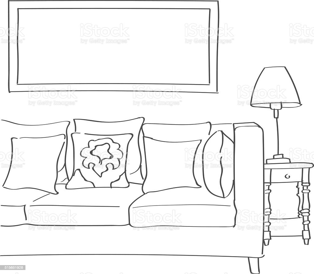 Hand drawn sketch of modern living room stock vector art for Comedor para dibujar