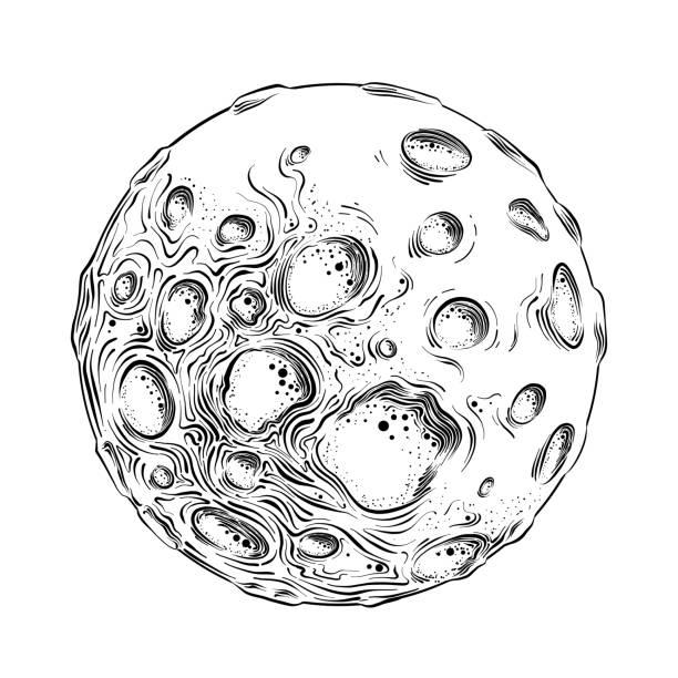 在白色背景黑色孤立的月亮行星的手繪剪影。詳細的復古風格繪圖。向量插圖 - 月亮 幅插畫檔、美工圖案、卡通及圖標