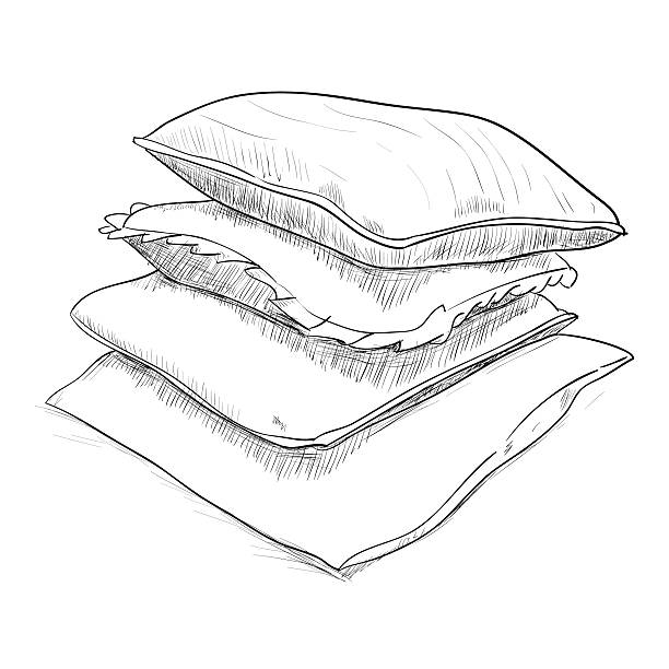 Hand drawn sketch of pillows vector art illustration