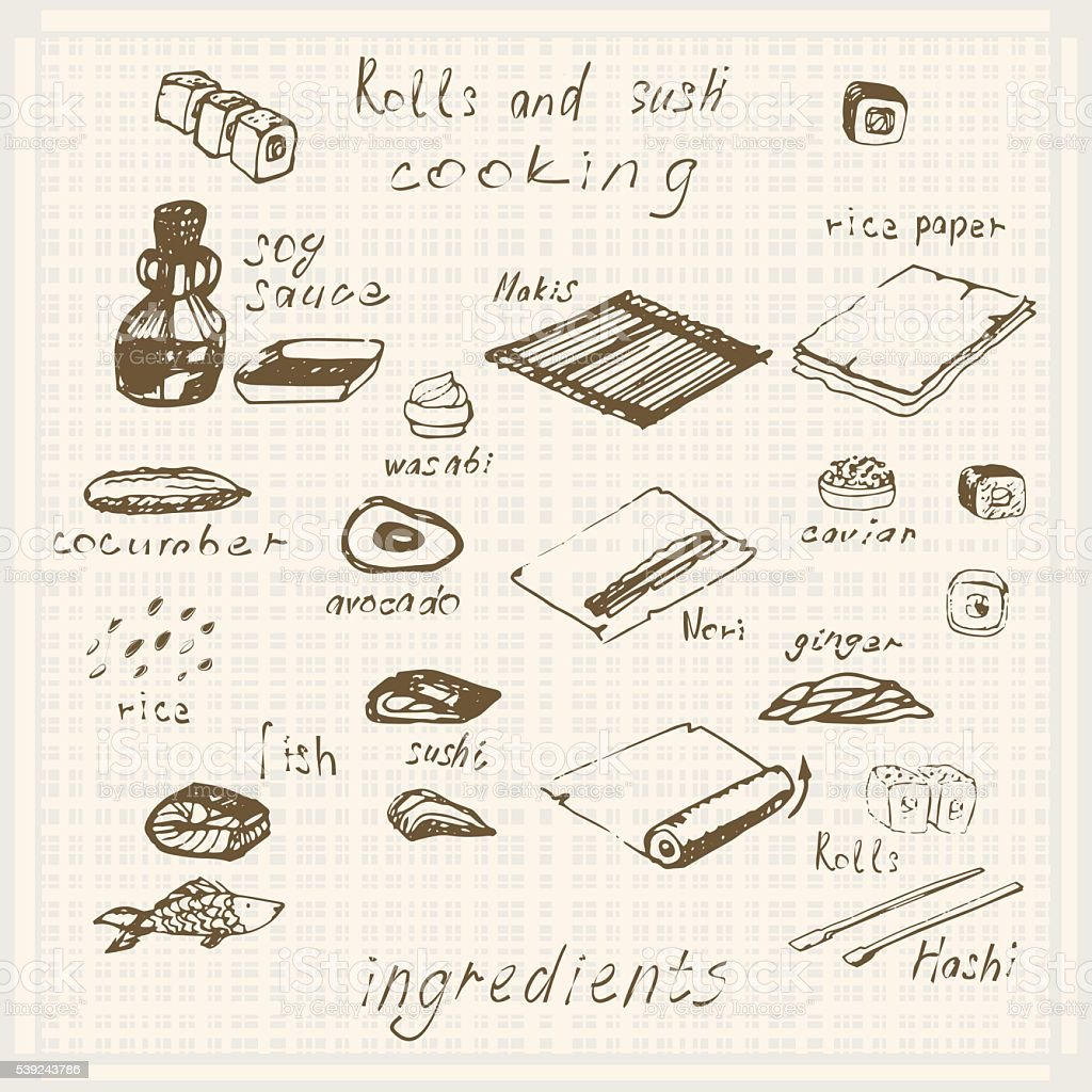 Dibujado a mano dibujo rollo de sushi, sushimi, salsa de soja, le esperan ilustración de dibujado a mano dibujo rollo de sushi sushimi salsa de soja le esperan y más banco de imágenes de alimento libre de derechos