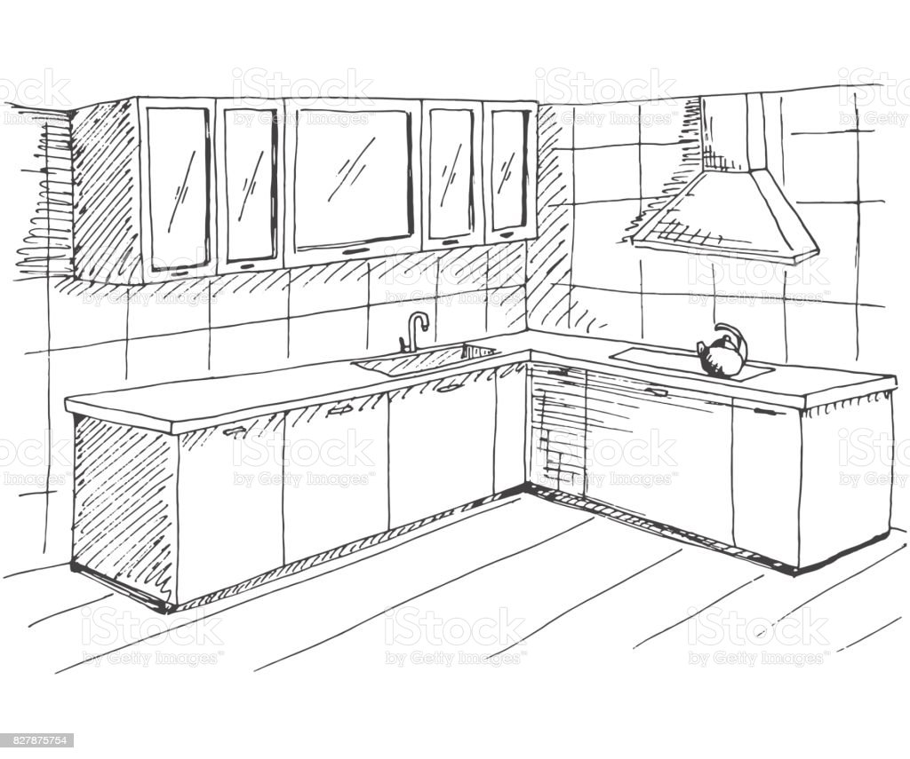 The Kitchen Sink Art Drawing Sketch Sketchbook By: Hand Drawn Sketch Of The Interior Quick Drawing Of Kitchen