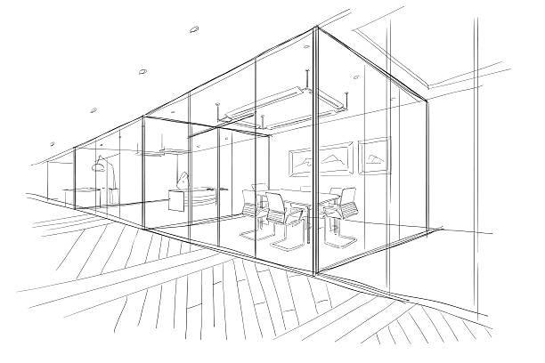 hand drawn sketch of the office space. - 실내 stock illustrations
