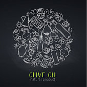 Vector round template with hand drawn sketch olives, tree branches, glass bottle, jug , metal dispenser and olive oil for farmers market packaging design. Chalkboard style.